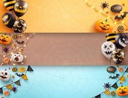 Set of Halloween poster and banner template with scary air balloons and halloween element..Blank banner for halloween concept.Website spooky or banner template.vector illustration eps 10