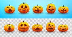 Set of Halloween pumpkin on blue and transparent background. Website spooky,Background or banner Halloween template.Vector illustration EPS10