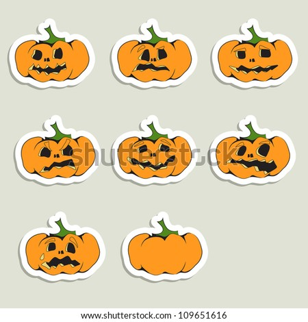 Set of 7 halloween pumpkins with Jack O`Lantern face