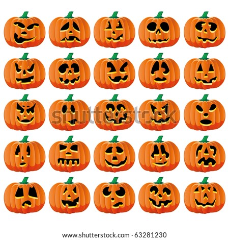 Set of 25 halloween pumpkins with Jack O`Lantern face, part 15, vector illustration