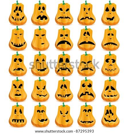 Set of 25 halloween pumpkins with Jack O`Lantern face, vector illustration