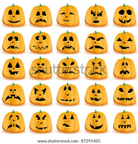 Set of 25 halloween pumpkins with Jack O`Lantern face, vector illustration