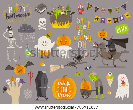 Set of halloween sign, symbol, objects, items and cartoon characters. Vector illustration.