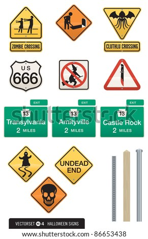 set of 12 halloween sign