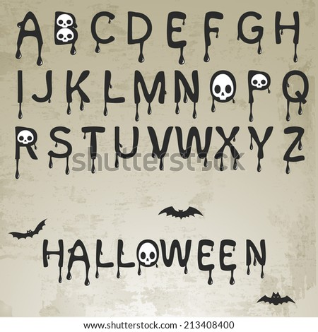 Set of Halloween Splash Alphabet with skull