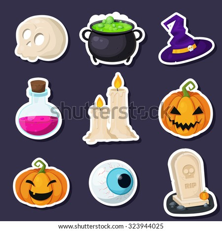 Set of Halloween stickers related objects and creatures. Set of halloween icons for your design. Flat design. Halloween symbols.