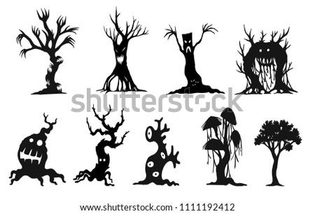 set of halloween tree by hand