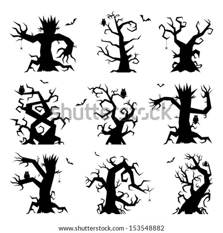 Set of halloween trees with bats, spiders and owl, illustration.