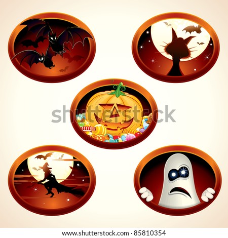 Set of Halloween vector labels or icons, with classical cartoon illustrations of Vampire Bats, Sweet Pumpkin, Flying Witch...