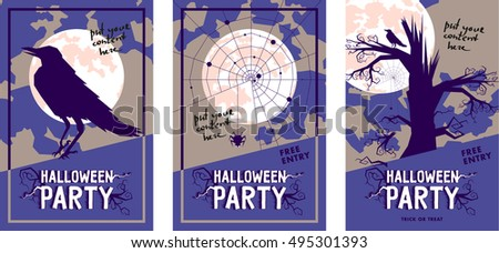 set of halloween vector print