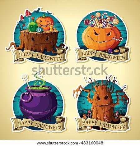 set of halloween vintage labels
