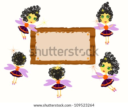 Set of Halloween witches and board with old paper isolated on white