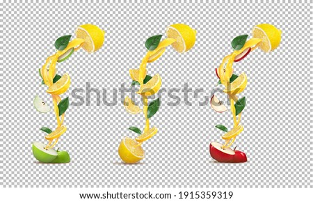 set of halved green apple and half lemon, red apple, halved lemon with lemon and apple juice streams with apple and lemon slices on a white background. vector illustration