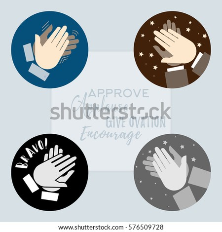 set of 4 hand clapping icons. Approve, applause, ovation. bravo, encourage.
