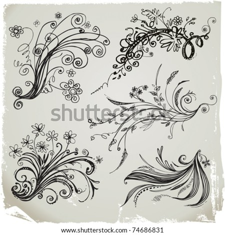 Set of hand draw floral elements.