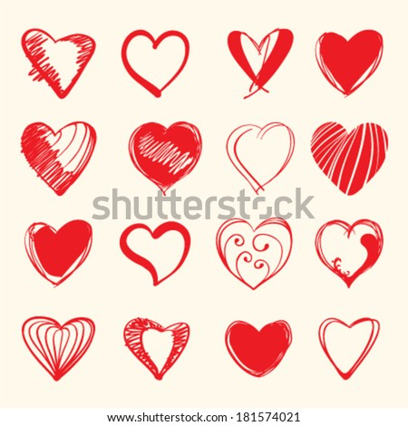 Set of hand draw hearts vector illustration
