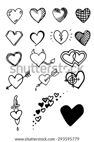 set of hand draw hearts vector
