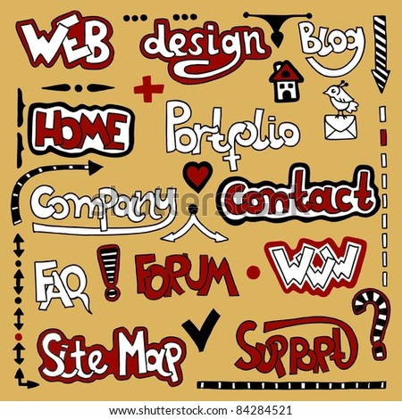 Set of hand draw lettering web design element