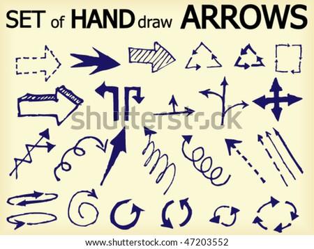 Set of hand draw vector arrows