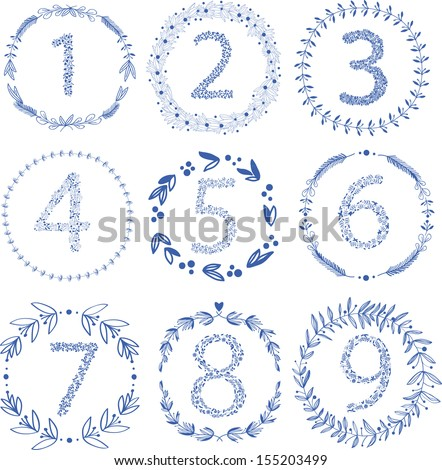 Set of 9 hand-draw vector victory laurel wreaths and floral numbers for wedding stationary branding or table number Easy to change colors
