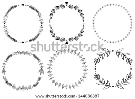 set of 6 hand draw vector