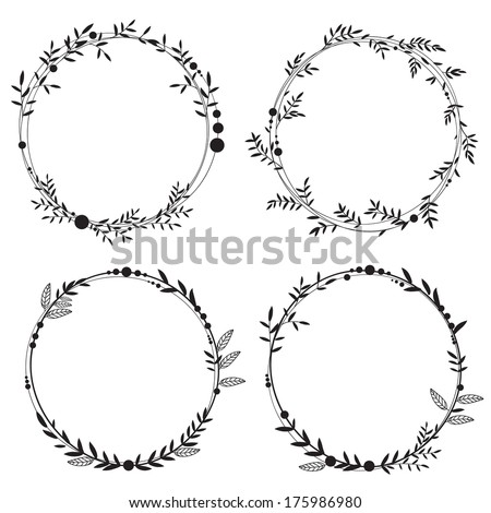 Set of 4 hand-draw vector victory laurel wreaths for stationary Easy to change colors