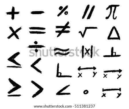 Set of hand drawing black math symbol.