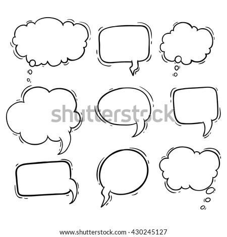 Set of hand drawing bubbles speech or bubbles talk