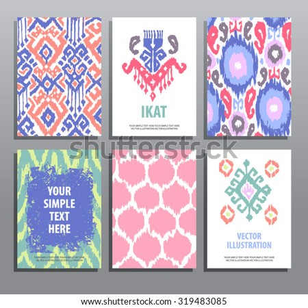 set of hand drawing cards in