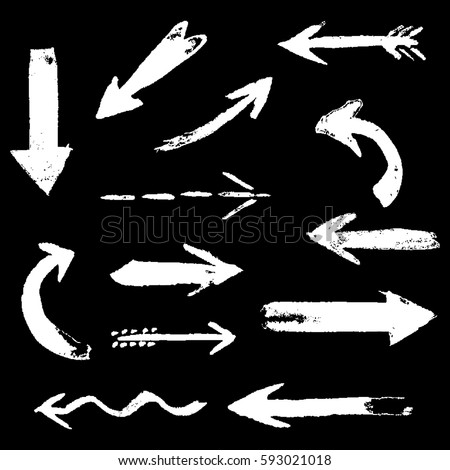 Set of hand drawing comic white color chalk arrows. Hand painting design elements. Vector collection on black background #593021018