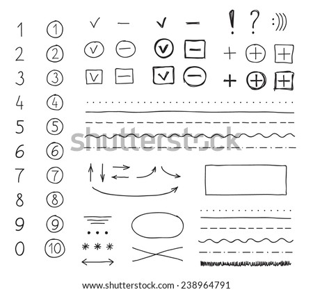 Set of hand drawing elements for mark, edit and select text.