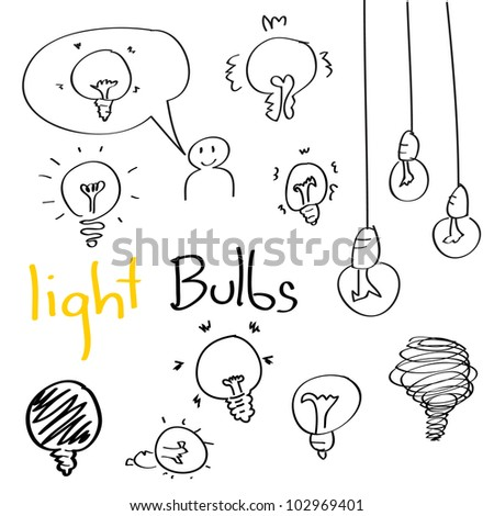 Set of Hand drawing light bulbs cartoon doodle