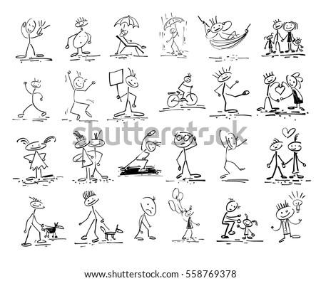 set of 24 hand drawing sketch doodle human stick figure, marker art vector illustration collection