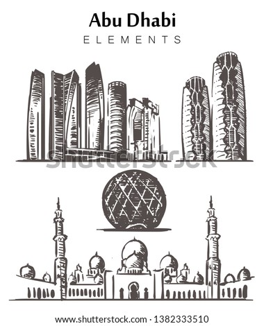 Set of hand-drawn Abu Dhabi buildings elements sketch vector illustration. Sheikh Zayed mosque, Etihad Towers,  Al-Bahar towers, Aldar  Skyscraper.