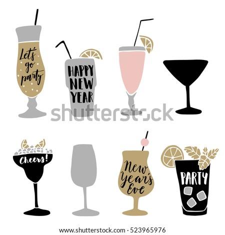 set of hand drawn alcoholic