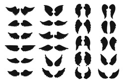 Set of hand drawn angel or bird wings silhouettes. Monochrome drawing elements. Vector illustration EPS 10 isolated on white background.