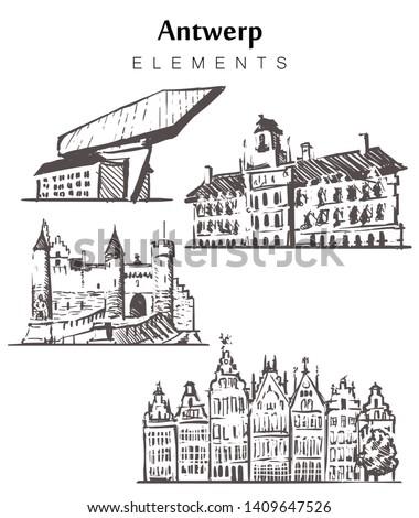 Set of hand-drawn Antwerp buildings, Antwerp elements sketch vector illustration. Town Hall, guild buildings, Steen Castle, Port.