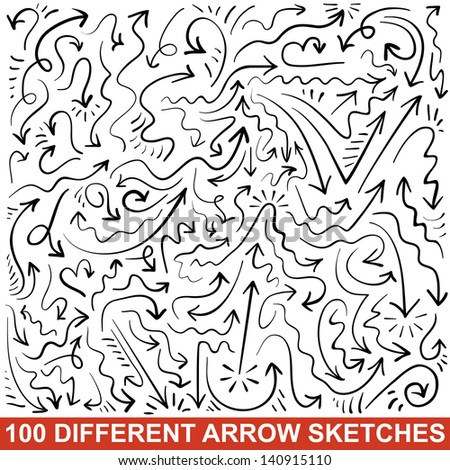 Set of 100 hand drawn arrow sketches. Black graphic pointers. Vector illustration for your business and education design. Collection of the signs displaying different types of changes.