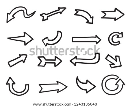 Set of hand drawn arrows.Vector black arrows. #1243135048