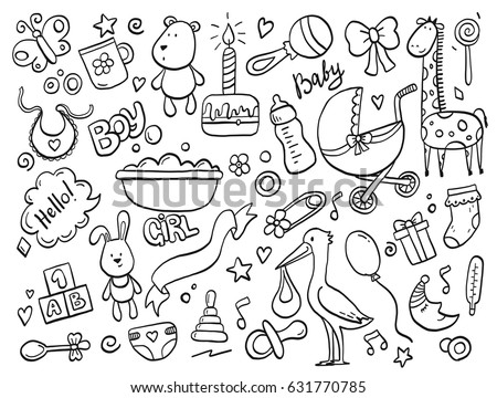 Set of hand drawn baby and newborn doodle for icon, banner. Cartoon sketch style doodle with baby girl and boy toy, food, ball, balloon, moon, star, milk bottle, birthday elements. Vector illustration - Shutterstock ID 631770785