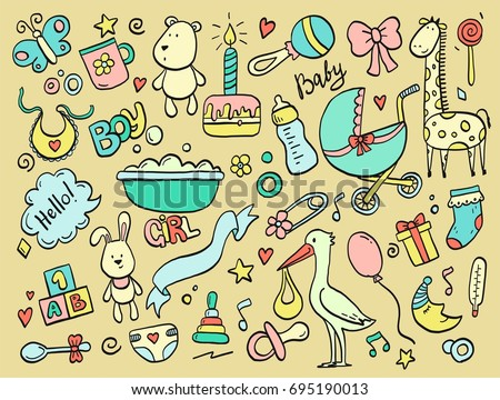 Set of hand drawn baby and newborn doodle for icon, banner. Cartoon sketch style doodle with baby girl and boy toy, food, ball, balloon, moon, star, milk bottle, birthday elements. Vector illustration