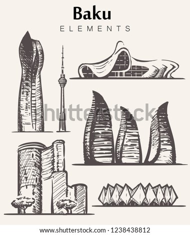Set of hand-drawn Baku buildings.Baku elements sketch vector illustration.SOCAR,Flame,Maiden,Baku TV towers, Heydar Aliyev Center.