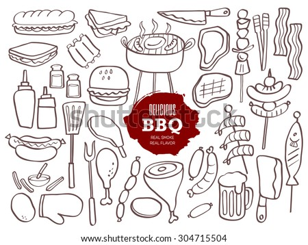 set of hand drawn bbq doodles