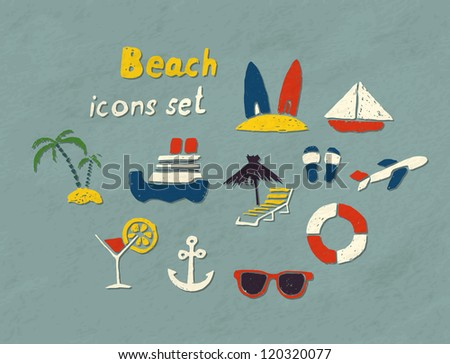 Set of hand drawn beach icons. Vector image.