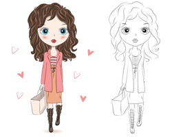 Set of hand drawn beautiful cute fashion girls on white background. Cartoon fashionable girls. Cartoon character. Coloring book pages for kids. Outline for coloring page cartoon vector