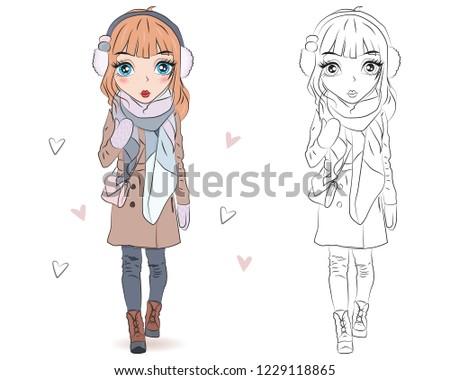 0798c66da945 Set of hand drawn beautiful cute winter fashion girls on white ...