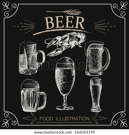 set of hand drawn beer isolated