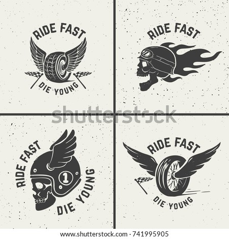 set of hand drawn biker emblems