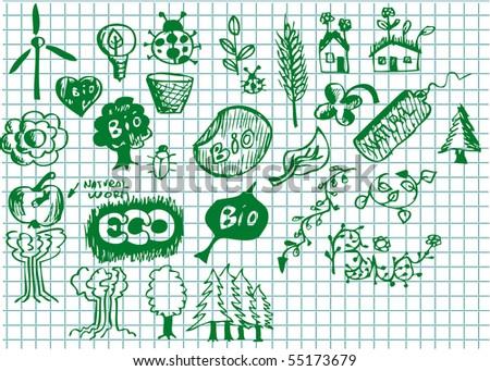 set of hand drawn bio symbols