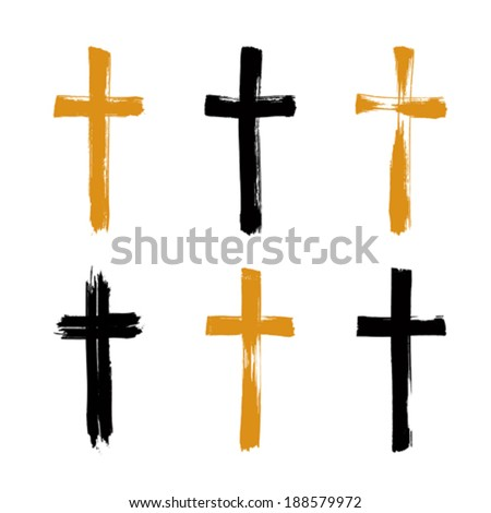 Set of hand-drawn black and yellow grunge cross icons, collection of simple Christian cross signs, hand-painted cross symbols created with real ink brush isolated on white background.